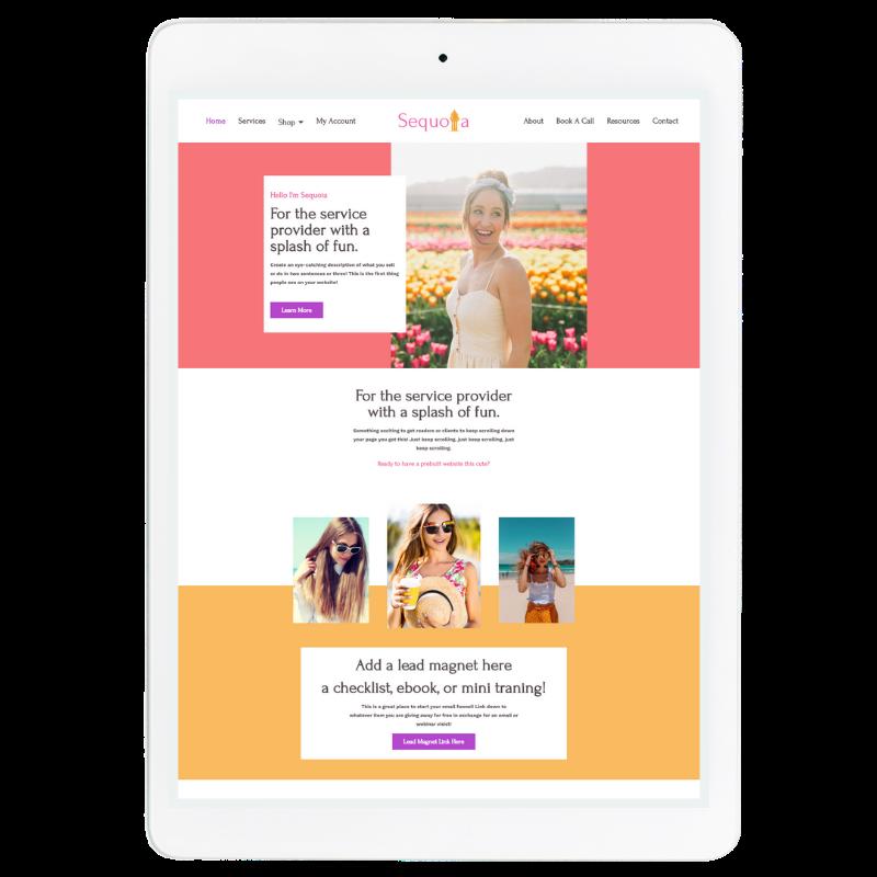 Sequoia Website Template in Pink