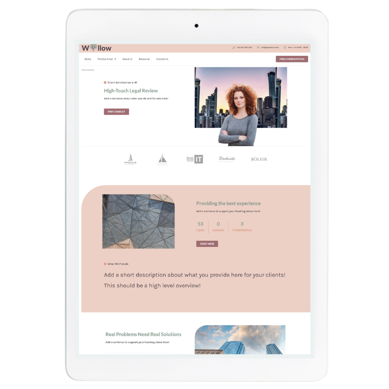 Willow Website Template in Pink