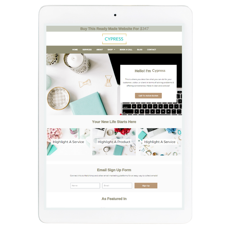 Aspen Website Template in Green