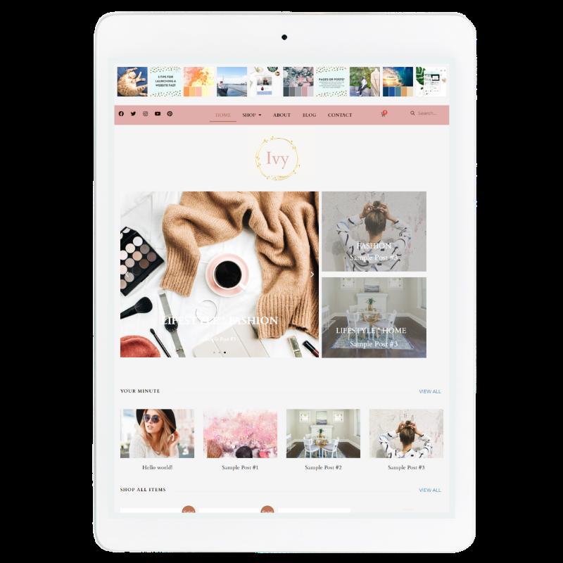 Ivy Website Template in Pink