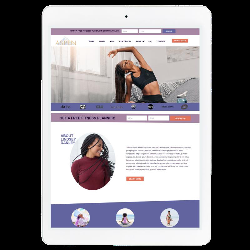 Aspen Website Template in Purple