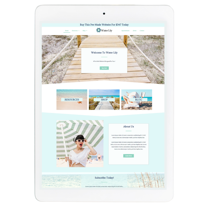 Water Lilly Website Template in Blue