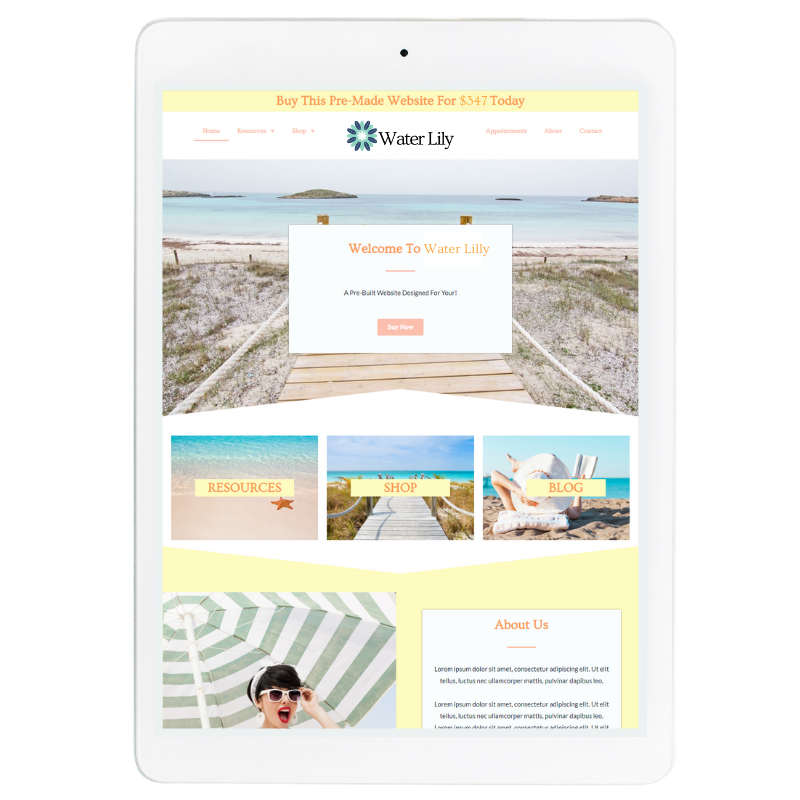 Water Lilly Website Template in Yellow