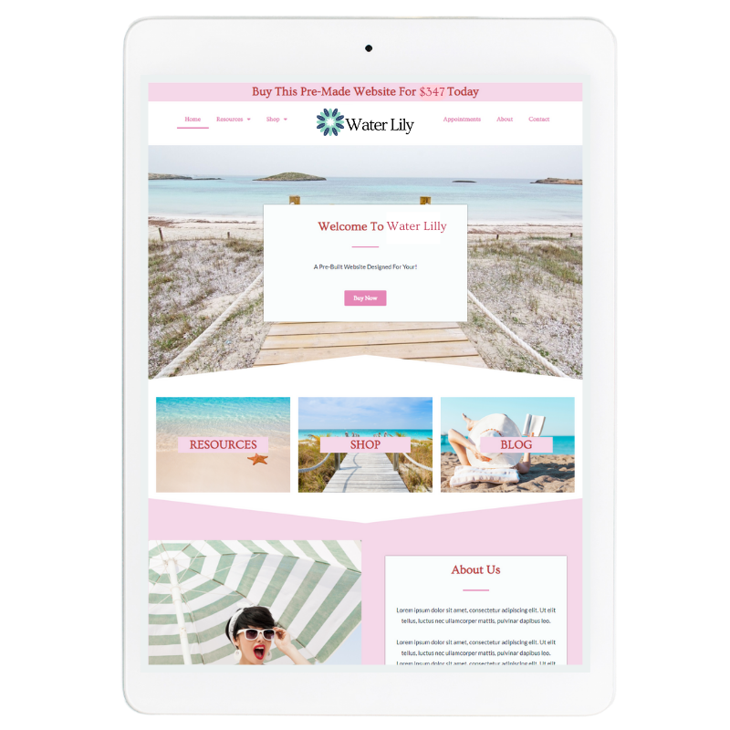Water Lilly Website Template in Pink