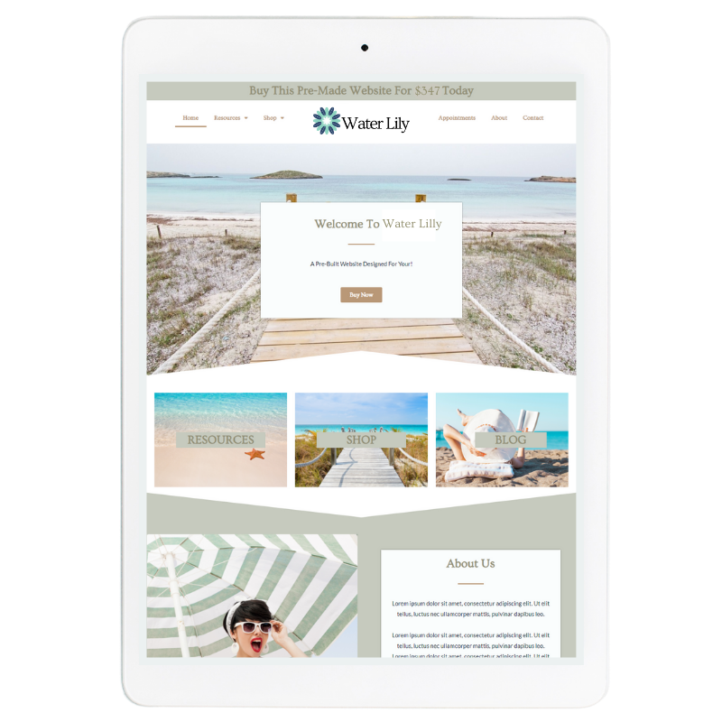 Water Lilly Website Template in Green