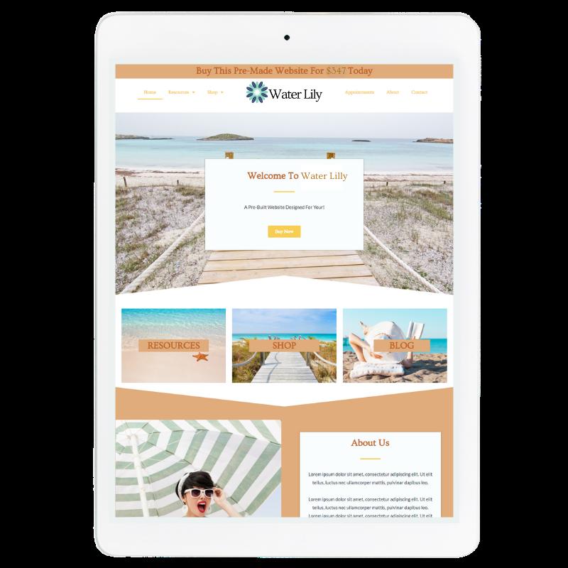 Water Lilly Website Template in Orange