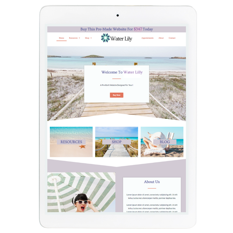 Water Lilly Website Template in Purple