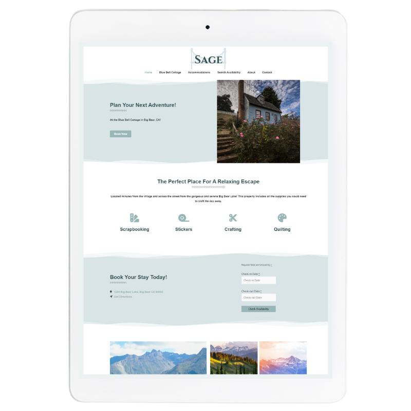 Sage Website Template in Blue