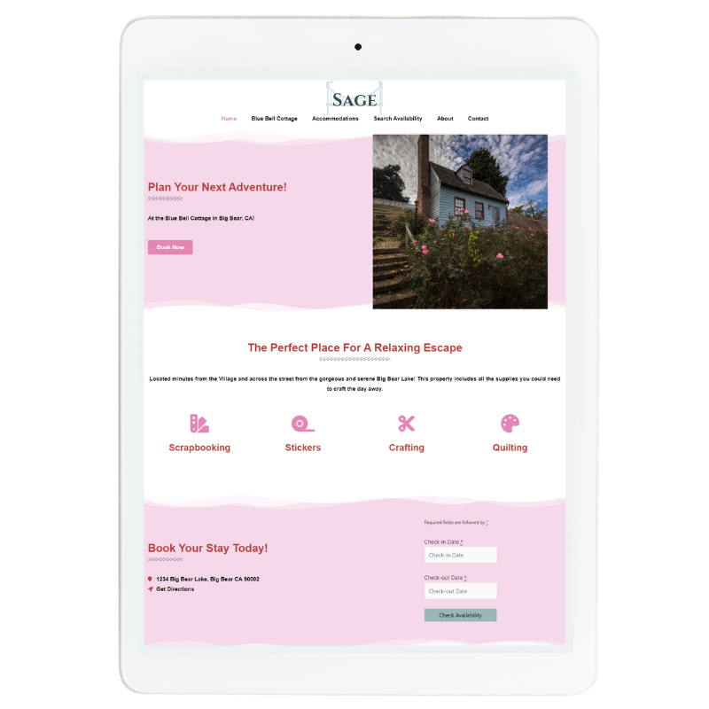 Sage Website Template in Pink