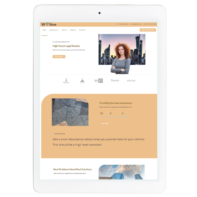 Willow Website Template in Yellow